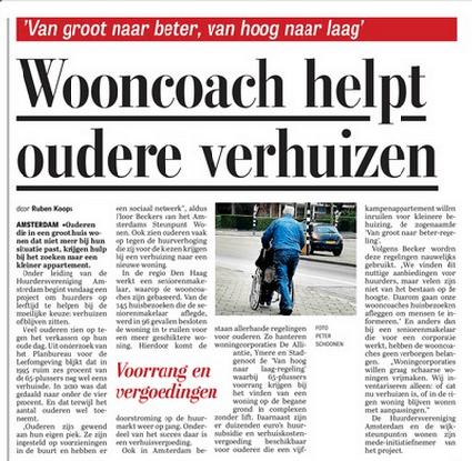 Telegraaf artikel wooncoach