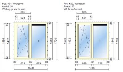 tekening dubbel glas project Transvaalstraat