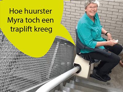 Foto bij artikel van bewoonster die toch een traplift krijgt